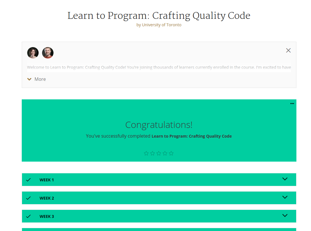 Learn to Program: Crafting Quality Code